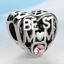 Best Mum Love Heart European Charm With Pink Gift Pouch - Silver Tone - Mother's