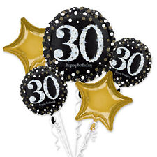 30th Happy Birthday Foil Balloon Bouquet Black Silver Gold Age 30 Decorations