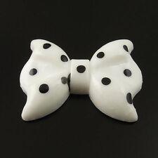 30PCS Fashion White Black Dot Resin Bowknot Cameo Cabochon Flatback 28*21*5mm
