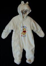 NEW! Baby Disney Cream Winnie Pooh Huggable Fleece Pram Snowsuit Age 0-3 Months