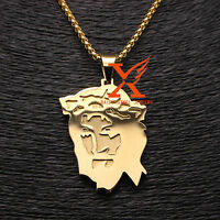 Stainless Steel 18k Gold Plated Large Jesus Face Head Pendant Necklace 3mm 24""
