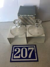 G01: Avon Gift Collection Hummingbird 24% Lead Crystal Glass Candle Holders 4""