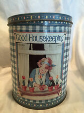 COLLECTIBLE VINTAGE GOOD HOUSEKEEPING APRIL 1928 TIN~GIRL AT WINDOW W/TULIPS