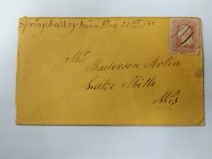 Minnesota: Spring Valley 1868 #94 Cover, Ms, Fillmore Co