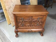 Great Vintage Heavily Carved Oak Nightstand End Table