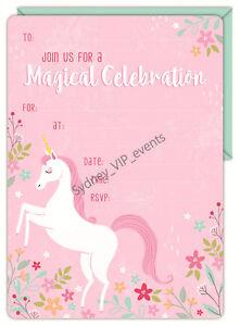 16X UNICORN INVITE PARTY INVITATION WITH ENVELOPE BIRTHDAY MYSTICAL FANTASY GIRL