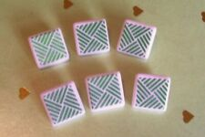 6 vtge.(unused) white glass buttons/geometric pattern in green  16mm sq.