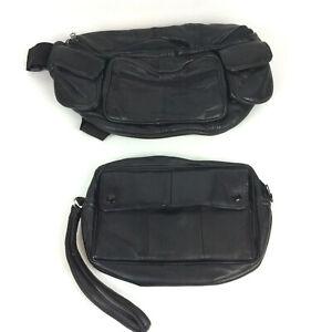 Large Fanny Pack Bum Bag Black Faux Vegan Leather + Clutch Travel Purse Combo