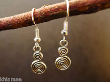 Double Spiral Goddess Earrings hook silver plated wiccan pagan jewellery celtic