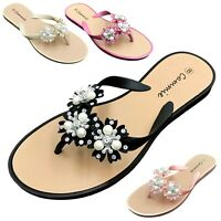 NEW Women's Flower Pearl Rhinestone Sandals Flat Jelly Thong Flip Flops 6 to 11