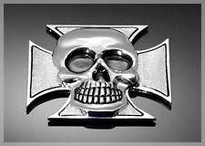 Emblème adhésif Métal Chrome tête de mort croix de malte GF moto custom