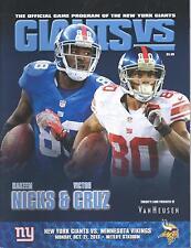 Minnesota Vikings New York Giants 10/21/13 NFL Program..Hakeem Nicks Victor Cruz