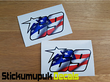 2 x USA Nicky Hayden Stickers Superbike MotoGP Moto GP 69 Helmet size 100mm wide