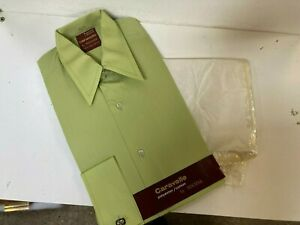 Vintage 1970's Caravelle by Tootal Green Poly Cotton New Shirt in Packet S 15