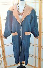 Vintage Denim Jacket Cowgirl Duster Coat Western Diamond Leather trim sz M USA