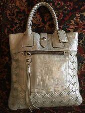 Coach 11988  Rare Silver Platinum Leather Thompson  Legacy Slim Brief Tote
