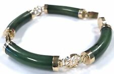 14 Karat Yellow Gold Unique Natural Jade Jadeite Gemstone Tennis Bracelet B80