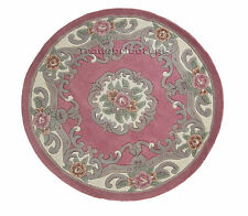 Flair Rugs Lotus Premium Aubusson Traditional 100 Wool Round Rug 120 Cm Pink 120cm Diameter