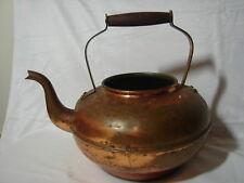 So Pretty Vintage Copper Kettle Teapot NO/ Lid Wooden Handle