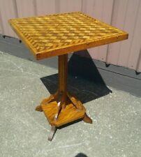 Antique Pedestal Accent Table Parquet Top Hand Made Folk Art 1945