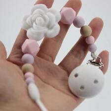 Baby Infant White Flower Baby Pacifier Lian Shield Chain Clip Holder HS