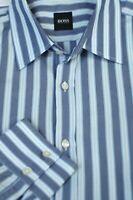 Hugo Boss Men's Denim Blue White Stripe Cotton Casual Shirt XL XLarge