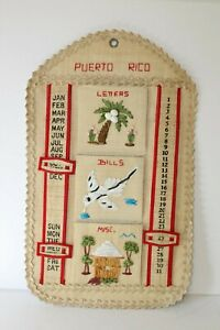 Vtg Puerto Rico Woven Straw Mail Organizer Wall Hanging Letters Bills Misc