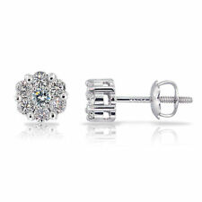 0.60 Cts Round Brilliant Cut Diamonds Stud Earrings In Solid 18Karat White Gold