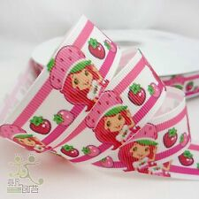"22mm(7/8"") Pink Strawberry Girl Cartoon Grosgrain Ribbon Bow 2 Yard Craft"