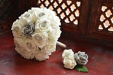 Bridal Bouquet - Ivory & Glitter Silver Roses &  buttonhole, mango shaped detail