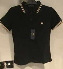 ::Fred Perry : MIE Ladies Polo Shirt ( UK 10 ) Black / Champagne