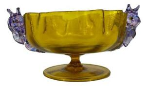 Antique 19thC Italian Victorian Murano Glass Dolphin Footed Bowl Dish Tazza Cup