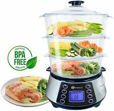 PureMate Digital 3 Tier Electric Food Steamer including Rice bowl 800W