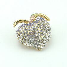 18k Gold Gf apple crystals brooch pin with Swarovski elements