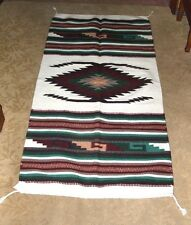 "Throw Rug Tapestry Southwest Western Hand Woven Wool 32x64"" Replica #112 W"
