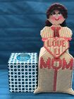 Handmade Needlepoint Plastic Canvas Doll Tissue Box Cover Love you Mom