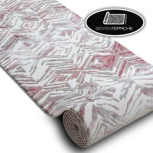 Modernen exklusiv sehr dick Läufer DIZAYN grau rosa Breite 80cm beste Qualität