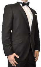Mens Black Satin Peak Lapel Formal 1 Button Tuxedo Suit