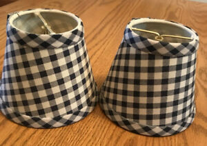 """Small Clip On Lamp Shades-Navy Cream Check Fabric Covered- 4"""" Tall set/2"""