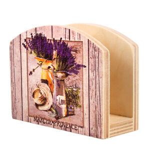 Lavender Wooden Napkin Holder, Floral Pattern