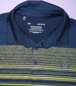 Mens EUC Sea Green Striped UNDER ARMOUR PLAYOFF Technical Golf Polo Shirt size L