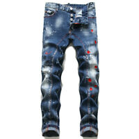 Dsquared 2 DSQ2 Washed Denim Slim Fit Men's Personalized Maple Leaf Patch Jeans
