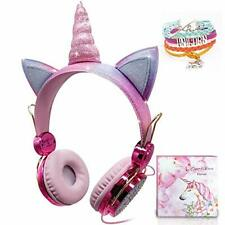 Kids Unicorn Headphones, Girls Over-ear Headphones Wired Cute Sparkly Headphone