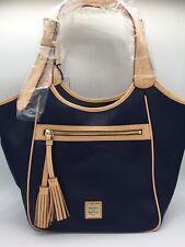 Dooney & Bourke Navy Tan with Red Maddie Marine Handbag Purse
