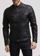 New Men's Leather Jacket Genuine Lambskin Leather Motor fit Biker M Coat MJ0442