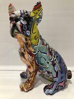 Graffiti Art Sitting French Bulldog Ornament Dog Figurine Gift Present