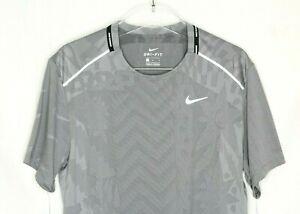 Nike Breathe Men's Miler gray Reflective Running T-Shirt CJ5814-010 size L