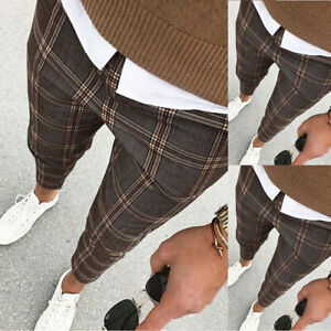 Mens Casual Plaid Pants Slim Fit Formal Business Office Checked Trousers Bottoms
