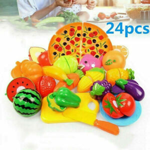 24Pcs/set Kids Pretend Role Play Kitchen Fruit Vegetable Food Toy Cutting Toys