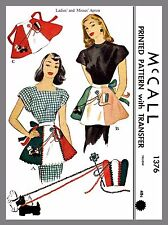 Vintage McCall Misses' Scottie APRON One size Material Fabric sew pattern # 1376